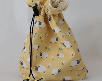 Small drawstring knitting crochet craft project bag sheep