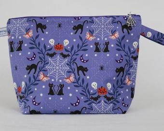 Halloween project bag | halloween crochet bag | cats and cobwebs knitting bag | craft storage bag | zipped bag | shawl project bag
