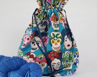 Skulls project bag | skulls knitting bag | Frida skulls project bag | drawstring bag | shawl project bag | crochet bag | yarn storage bag