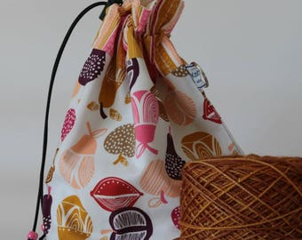 Small drawstring project bag retro orchard