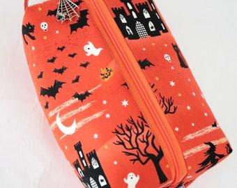 Halloween knitting bag | crochet project bag | knitting project bag | haunted house craft bag