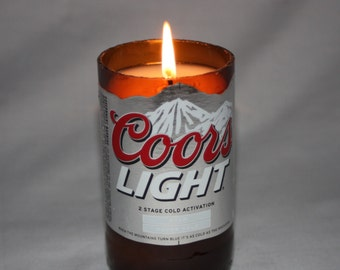 Awesome Beer Bottle Candle From Upcycled Coors Light Beer Bottle, Scented Candles  In Your Choice Of Scent, Bar Decor, Beer Lover Gift, Coors Gift Good Looking