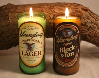 Beer Bottle Candle from Upcycled Yuengling and Yuengling Black and Tan, Beer Bottles, Scented Candles in your Choice of Scent, Bar Decor