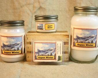 Aspen Winter Candle and Wax Melts, Nature Scent Candle, Highly Scented Candles and Wax Tarts, Great Winter Scent, Housewarming Gift