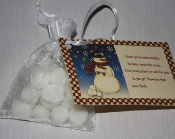 Snowman Poop Wax Tarts, Mini Marshmallows Candles, Snowman Poop Poem, Cute Gag Gift, Christmas Stocking Stuffer, Wax Melts with a Message