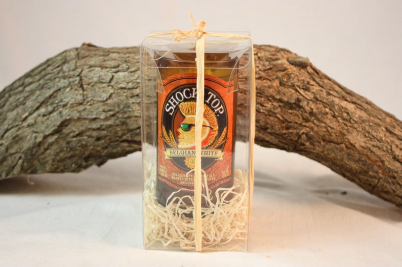 Candle Decor Beer Lover Gift Highly Scented with Your Choice of Scent Beer Bottle Candle Upcycled from Shock Top Beer Bottle Bar Decor