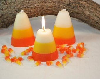Candy Corn Candle Scented in Sweet Candy Corn, Halloween Candle, Fall Home Decor, Halloween Decoration, Wax Fake Food, Great Fall Gift