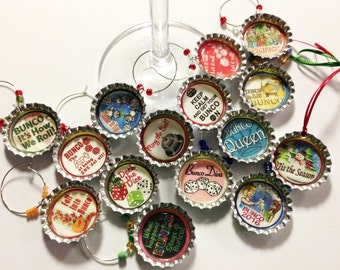 Eight Bottlecaps Bunco Wine Charms