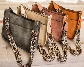 Callista Leopard Strap Crossbody Bag | Handbag | Free Shipping | Ships from USA | Vegan Leather | Trendy Boutique Handbag | Full Zipper