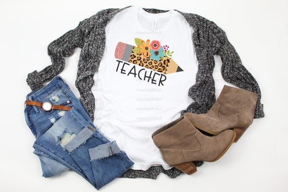 Personalized leopard pencil teacher t shirt bleache
