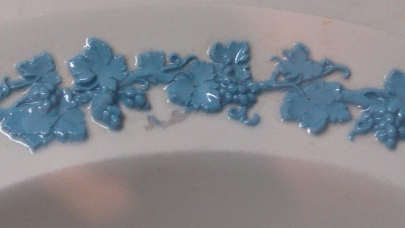 Wedgwood Queensware Blue Relief on White Rimmed Bowl