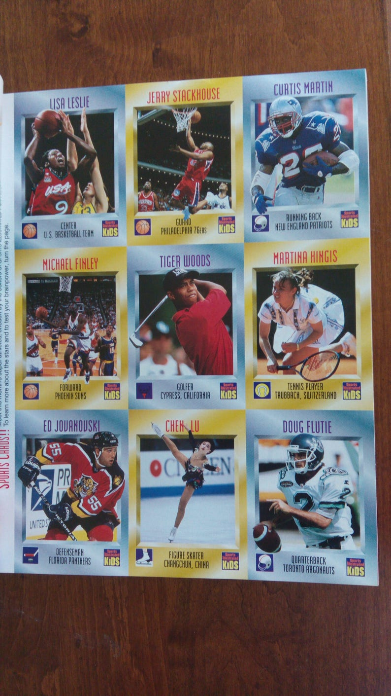 Sports Illustrated For Kids Larry Johnson Cover With Rare Uncut Tiger Woods Rookie Card Inside