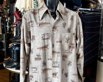 ed88bfebf35 Vintage 70 s Southwest Men s SEARS Perma Prest Poly Blend Oxford Shirt