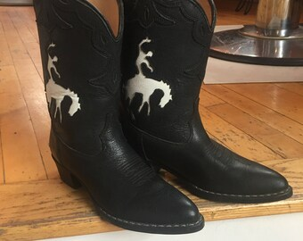 """Childs Western Black Leather Cowboy Boots White Leather Horse Rider Detail by """"Cimarron"""""""