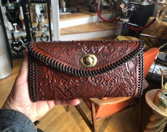 56e6e838d1e2 Vintage Western Rust Color Leather Hand Tooled Acorn and Leaves Wallet with  Dark Brown Leather Whip Stitches