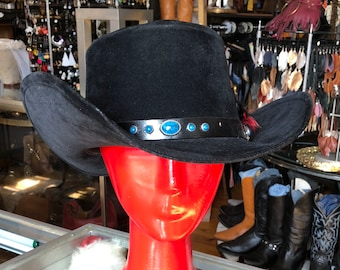 14ff6d19596 Vintage Western Black Felt Cowboy Hat   Bailey Hat with Turquoise Like and  Red Feather Hat Band   Size 7 1 4