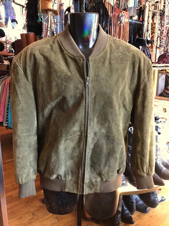 Vintage Olive Green Suede Jacket Adult Unisex Sued