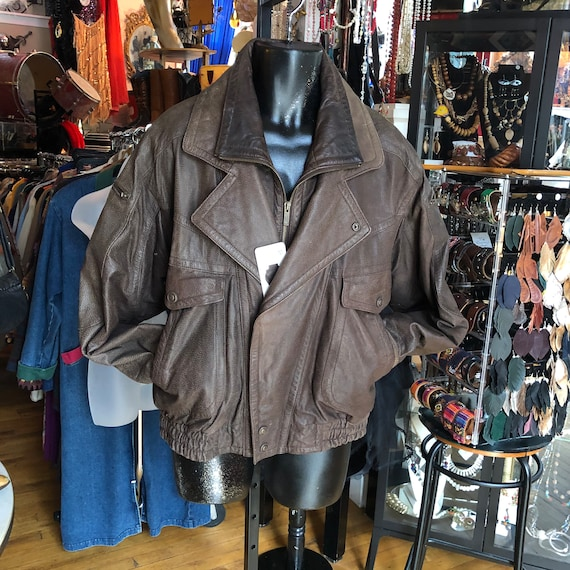 90's Retro Brown Leather Bomber Jacket