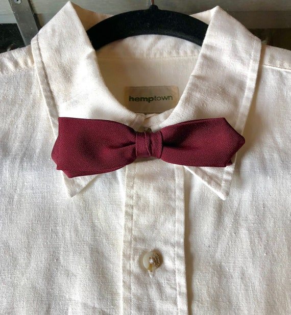 Vintage 50's Clip On Bow Tie Burgundy Bow Tie