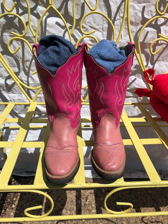 Southwest Pink Cowboy Boots Girls Size 4 Acme Chil