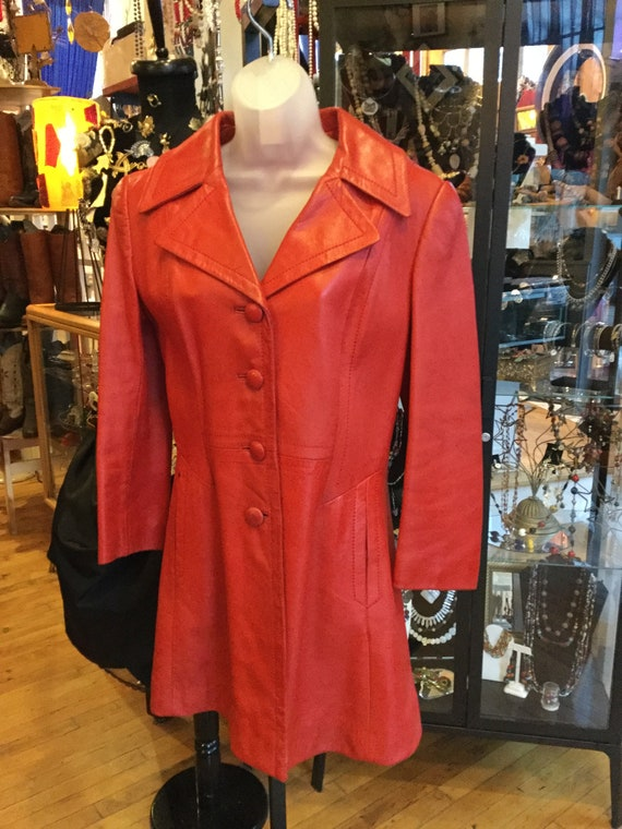 Vintage red leather women's jacket with red leathe