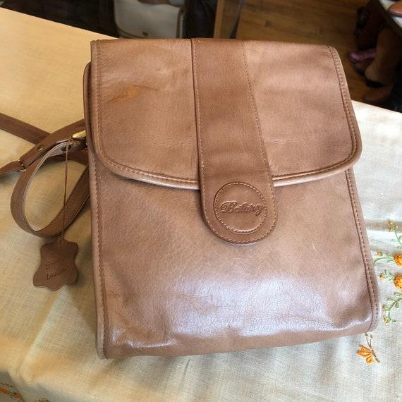 Retro 90's Brown Leather Crossbody Handbag