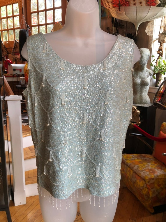 50's Vintage Light Blue Knit Sweater with Sequins,