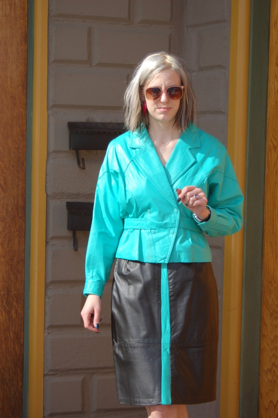 Mint Green and Black Leather Suit