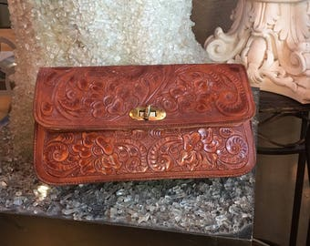 Vintage Hand Tooled Leather Handbag Clutch