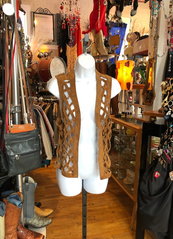 60's Boho Hippie Brown Suede Vest, Hand Crafted La