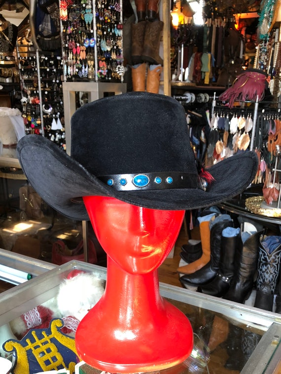 Vintage Western Black Felt Cowboy Hat   Bailey Hat with Turquoise Like and  Red Feather Hat Band   Size 7 1 4 c54e5b16e95