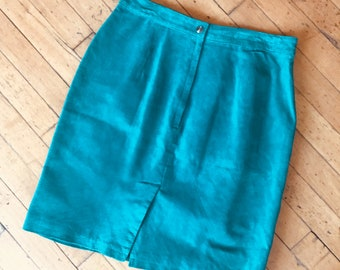 Retro Teal Suede Skirt Fully Lined
