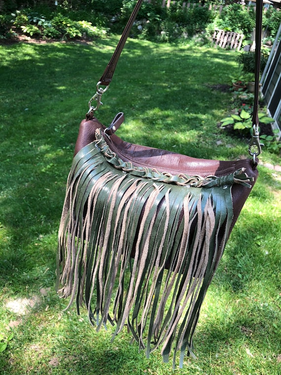 Repurposed Brown Leather Bag with Green Tan Suede