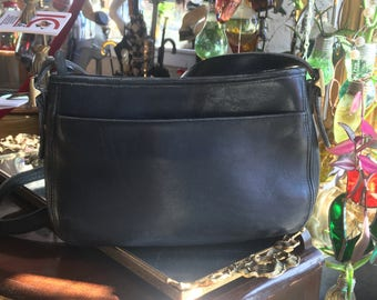 Vintage Black Leather Coach Handbag Crossbody with Brass Hardware