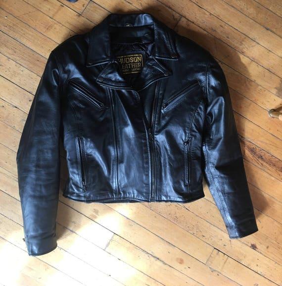 Hudson Black Leather Biker Jacket Womens Size Xs Cropped Etsy