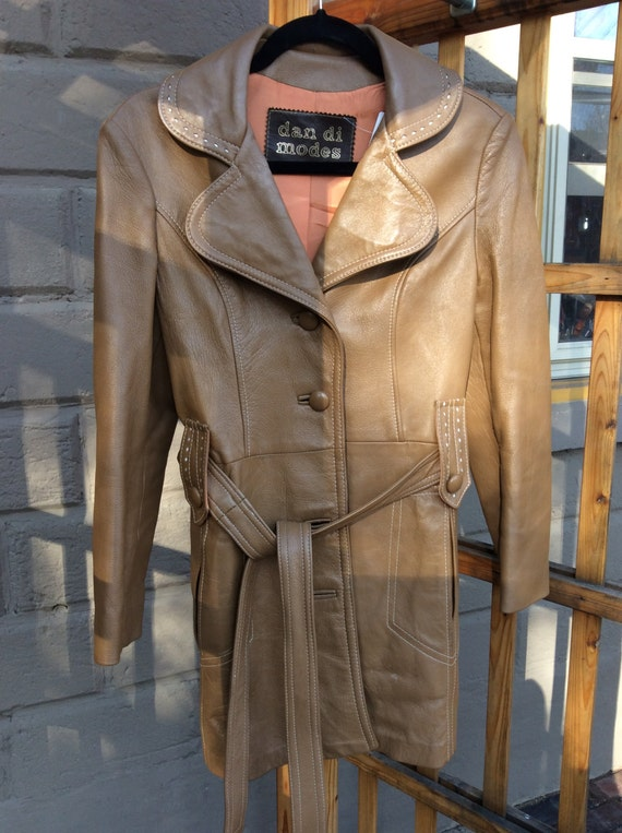 80's long leather trench