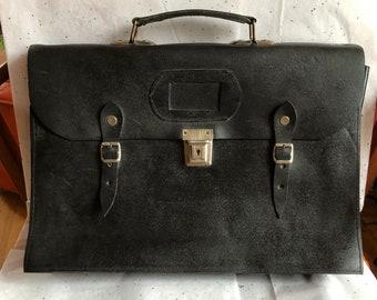 Vintage Black Leather Briefcase with Silver Hardware, Messenger Bag, Old School Bag, Professor Portfolio, Genuine Leather Briefcase