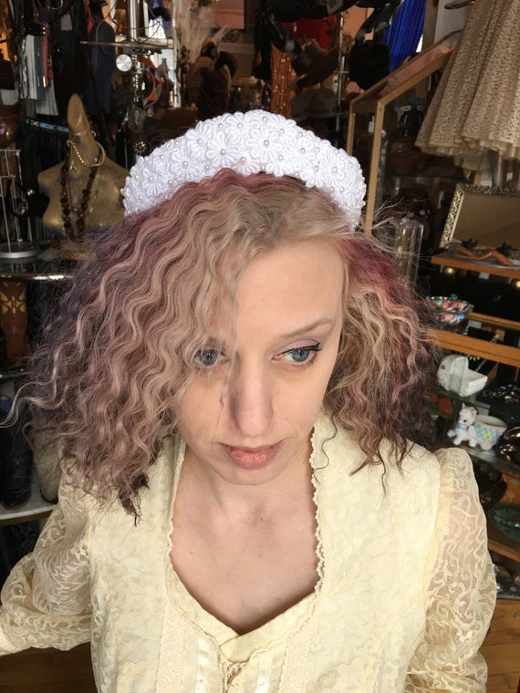 Vintage Bridal White Tiara Crown Pearl Princess Ti