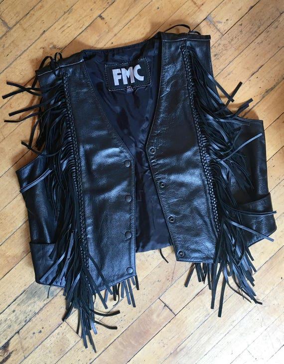 Vintage 90's Black Leather and Black Fringe Vest,