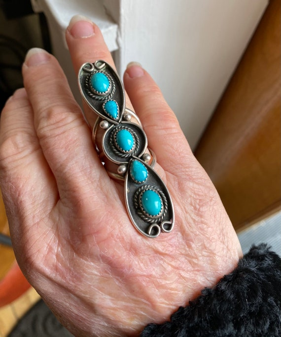 Vintage Long Old Pawn Silver and Turquoise Ring Si