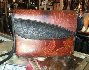 Vintage Handtooled Brown/Black Leather Purse with Leaves