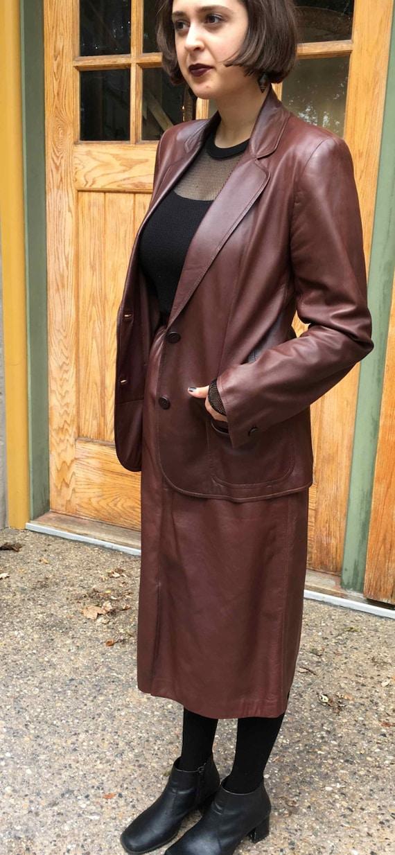 Vintage 80's Gucci Brown Leather Suit Classic Cut
