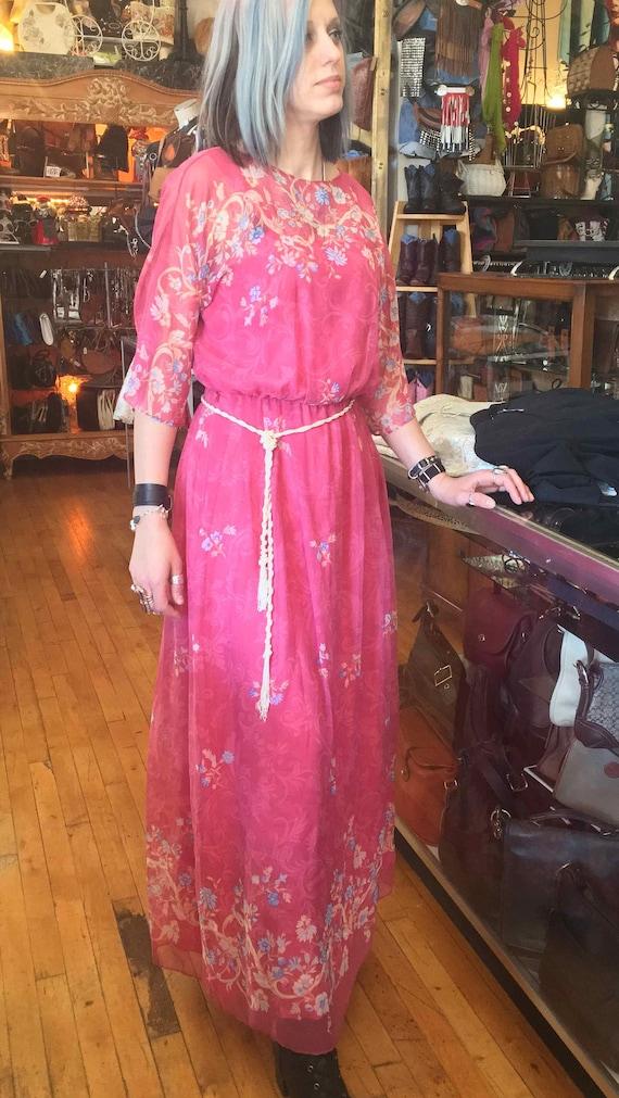 1970's Formal Pink Floral Dress