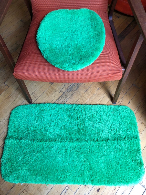 Outstanding Vintage Spring Green Toilet Seat Cover With Matching Rug Customarchery Wood Chair Design Ideas Customarcherynet