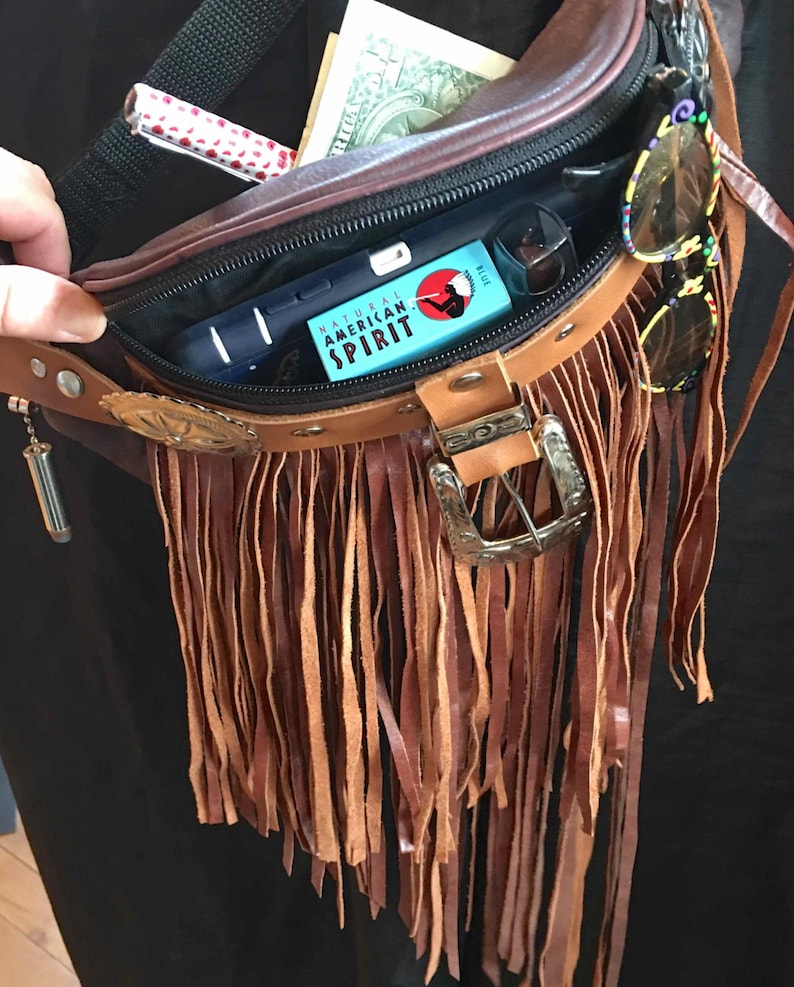 Re-purposed Fanny Pack with Brown Suede Fringe Brown Leather Hipster Hand Crafted