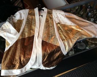 White and metallic leather jacket
