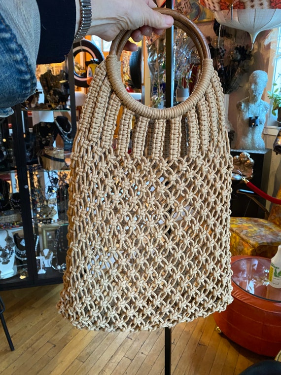 70's Boho Tan Cotton Macrame Shopping Bag