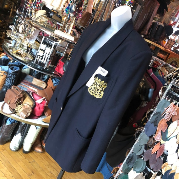 Shoulder Pads Gold Buttons M Medium Size 8 10 Retro Vintage 80s Navy Blue Gabardine Wool Skirt Suit Hipster Tea Length Skirt