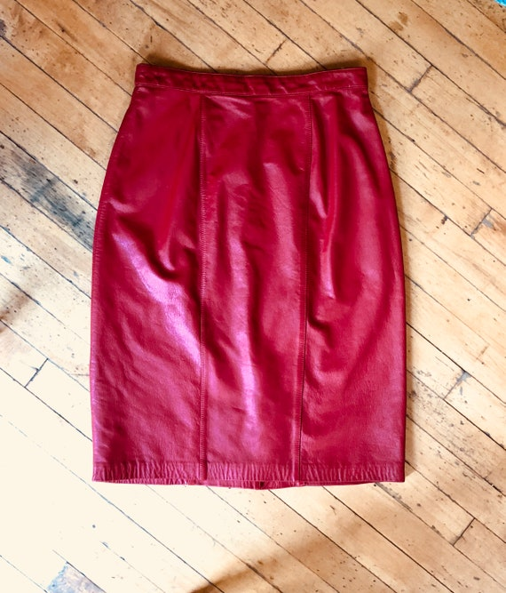 Retro Red Leather Pencil Skirt with Red Lining LOR