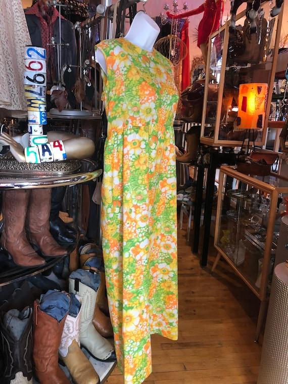 Vintage 60's / 70's Sleeveless Summer Dress, Brigh